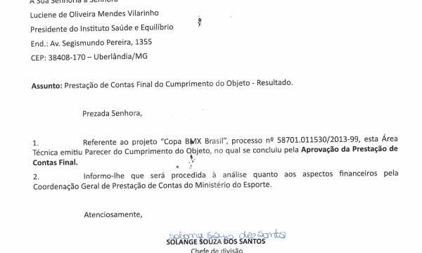 PRESTAÇÃO DE CONTAS APROVADA – COPA BMX Brasil